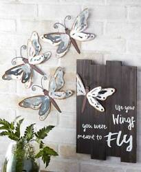 Galvanized Dragonfly Wall Set of 3 Hanging Metal Wings Nature Décor