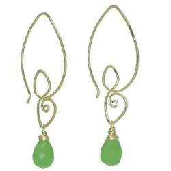 Carnivale Long Drop Scrolly Pierced Ear Wires With Your Choice Of Gemstone