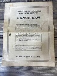 Vintage Sears Roebuck And Co Bench Saw Model 103.238832 Operating Instructions