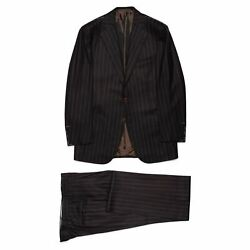 Cesare Attolini Handmade Chalk Striped Wool Super 120and039s Flannel Suit 50 New 40
