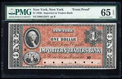 1850and039s 1 Importers And Traders Bank Of New York Color Proof Pmg65 Epq