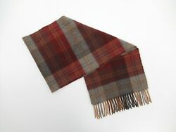 100 Pure Cashmere Made In Gt. Britain Unisex Plaid Fringe Scarf 55x11 K439