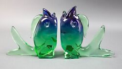 Archimede Seguso Italy Murano Glass Fish Bookends Sommerso Sculpture Mid Century
