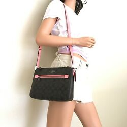 NWT Coach Signature Gallery Crossbody Bag 91013 Brown Pink $109.99