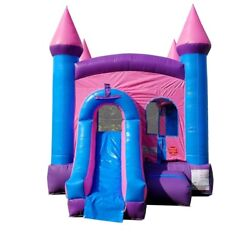 Used Inflatable Bounce House Water Slide With Blower Princess Pink Combo
