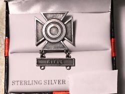 Xxx Rare Ww2 Wwii Sterling Silver Sharpshooter Rifle Pin Badge Working Pin