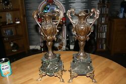 Pair Of Antique J.e Caldwell Marble Bronze Related Garnitures