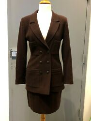 Brown Wool/nylon 2-piece Skirt And 4pocket Double Breasted Jacket Set Sz 38