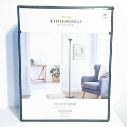 Threshold Torch Floor Lamp 71 H Brushed Nickel Glass Shade Bulb Included