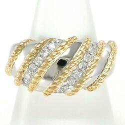 Platinum 900 18k Yellow Gold Ring 16 Size Diamond About19.2g Free Shipping Used