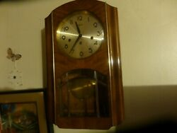 Vintage Hermle Wall Clock Westminister Chime Leaded Glass