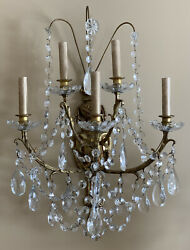 """PAIR Antique Bronze Crystal 5 Arm French Wall Sconces Candelabras 24"""" Torch"""