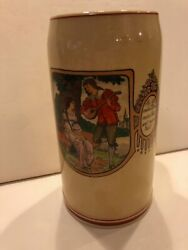 Vintage 1l Beer Stein Mug - Scene With Lover Couple And Mandolin Germany St102