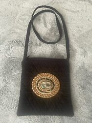 Hobo Small Black Crossbody Handbag Purse With Beautiful Stone In Great Shape $14.00