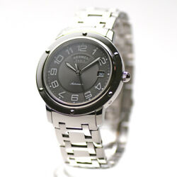 Auth Hermes Watch Clipper Mechanical Cp2.810 Automatic Case 39mm Date F/s