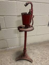 Rare Antique Cast Iron Dragon Smoking Stand Ash Tray 1920and039s Deco Scroll Art Mfg.