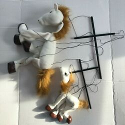 Lot Of 2 White Horse And Baby White Horse Marionette Wb352c Sunny Puppets