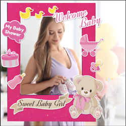 Photo Booth Polaroid Glitter Frame For Girl Baby Shower With Personalised Props