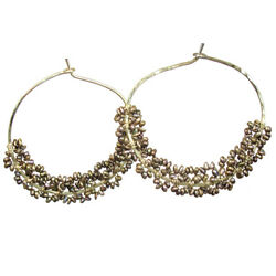 Cleopatra Hoop Earrings Wrapped With Tiny Seed Pearls With Choice Of Color