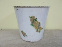 Vintage Large Metal Trash Waste Can Stencil Flowers Decal Kitchen Farm House