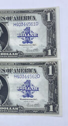 1923 1one Dollar Silver Certificates Consecutive Set Of 2 Crisp And Clean
