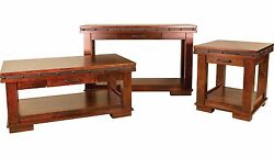 Amish 3pc Set Rustic Accent Tables Solid Wood Metal Band Coffee End Sofa