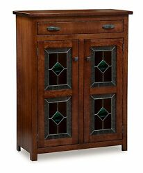Amish Leaded Glass 2-door Pie Safe Kitchen Pantry Cupboard Shelves Solid Wood
