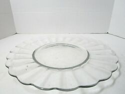 Vintage 14 Clear Glass Platter Cake Plate Cupcake Relish Tray Scalloped Rim