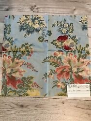 Travers Chalier Lampas Bleu From Italy Fabric Remnants 2 Pieces