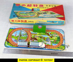 Bullet Train Wind-up Toy On Platform Tps T.p.s. Japan In Original Box See Movie