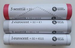 Finland 1, 2 And 5 Euro Cent Coin Rolls 2013, Total 150 Pcs. Unc Coin