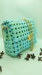 Wicker bag made of kraft tape. Crossbody. The color is calm light blue and green $75.99
