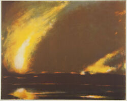Wayne Viney Fire And Water - Signed Original Lithograph Limited Ed Landscape