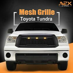 Fits 10-13 Toyota Tundra Mesh Grille Abs Front Black With Led Lights
