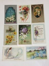 Antique 1914,15,16 Easter Post Cards - Embossed Crosses Flowers Angels Lot Of 8