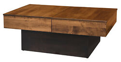 Amish Mid-century Modern Coffee Accent Table Living Room Solid Wood Storage Base