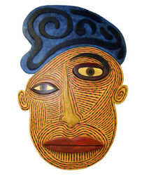 80s Chad Knapek Large Carved And Painted Wood Folk Art Wall Sculpture Outsider Art