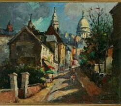 Edouard Lesaout 1909-1981, Street Of France, Oil/canvas, 17.5 X 21.5.