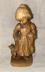 Rare Vintage Hans U Adolf Girl With Cat Wood Carving Figurine, Free Shipping