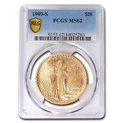 1909-s 20 Saint-gaudens Gold Double Eagle Ms-62 Pcgs - Sku25439