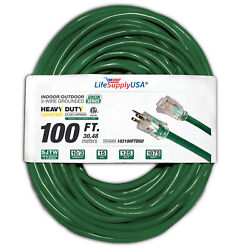 2-pack - 100 Ft Extension Cord 10/3 Lighted End Green Indoor/ Outdoor Etl