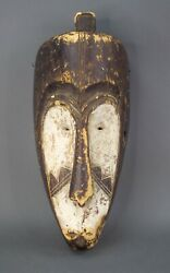 Superb Large Elongated Fang Tribe Mask Cameroon Africa Wood Carved 21 1/2