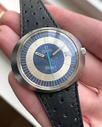 Vintage Omega Dynamic Automatic Blue Dial Quickset Date Ufo Steel Case Watch