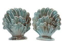 Art Deco Ceramic Shell Vases By Gonder Pottery - A Pair