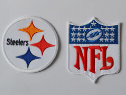 2pcs Pittsburgh Steelers Nfl Logo Patches Embroidered Iron On Patch Us Shipper