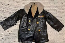 Vintage 1940-50 Kid's Usa Military Leather Jacket With Ww2 Army Air Force Patch