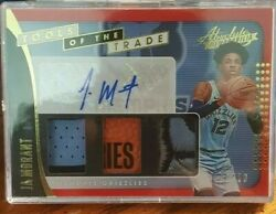 2019-20 Ja Morant Rc Panini Absolute Red /10 Triple Jersey Grizzlies Patch Auto
