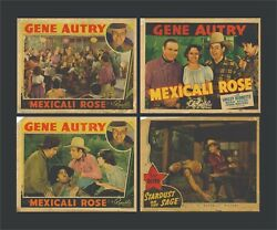 Vintage Set Of Four Gene Autry Lobby Cards 1939 And 1942 W/ Bonus Song Book