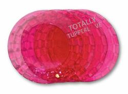 Tupperware Plates Set Of 4 Ice Prisms Round Acrylic Dishes Translucent Pink