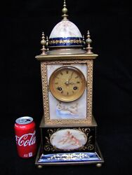 Antique French Hand-painted Porcelain Angel Mantel Clock.